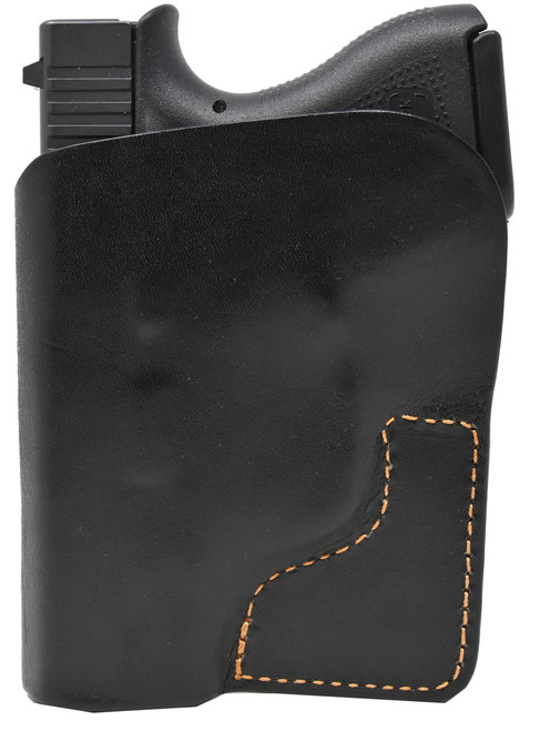 Black Italian Leather Pocket Holster for Glock 43 and Similar Guns