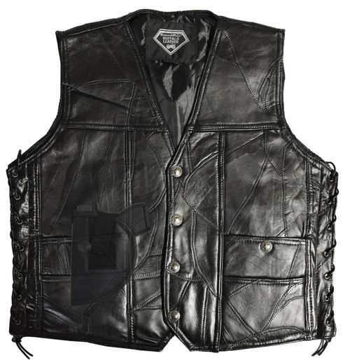 "Garrison Grip CCW Genuine BUFFALO  Leather Ambidextrous Concealed Carry Vest (X-Large 48.5"")"