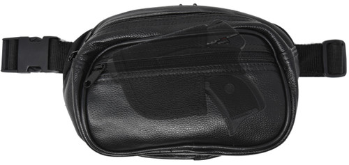 Garrison Grip Concealed Carry 3 Compartment Durable Black Leather Waist Fanny Pack For Small Pistols with Locking Gun Compartment