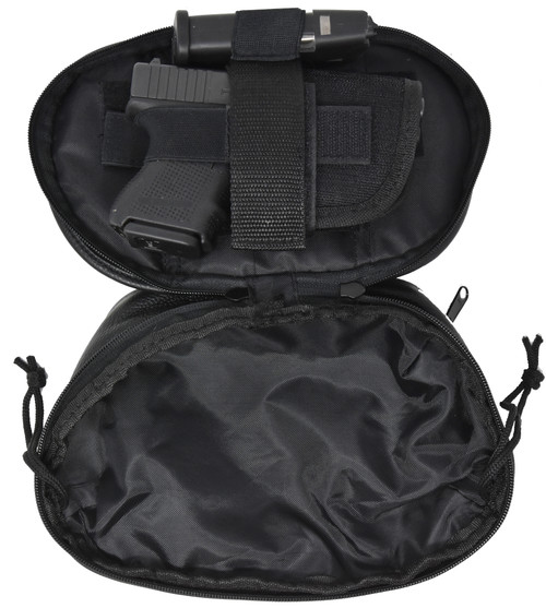 Garrison Grip Concealed Carry FOUR ZIPPER Compartments Durable Black Leather Waist Fanny Pack with Locking Gun Compartment For Small Guns. One Lock Included.
