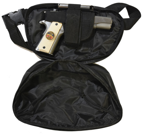 Garrison Grip Concealed Carry FOUR ZIPPER Compartments Durable Black Leather Waist Fanny Pack with Locking Gun Compartment For Large Guns. One Lock Included.
