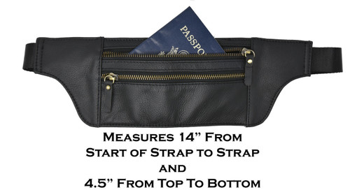 Garrison Grip Trim 3 Compartment Leather RFID Money Belt Passport Travel Wallet