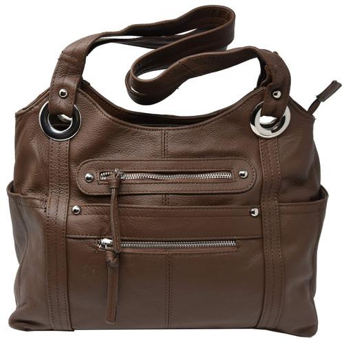 Garrison Grip Brown Leather Locking Concealment Purse - CCW Concealed Carry Gun Bag