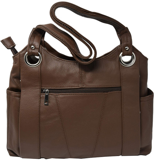 Garrison Grip Brown Leather Locking Concealment Purse - CCW Concealed Carry Gun Bag