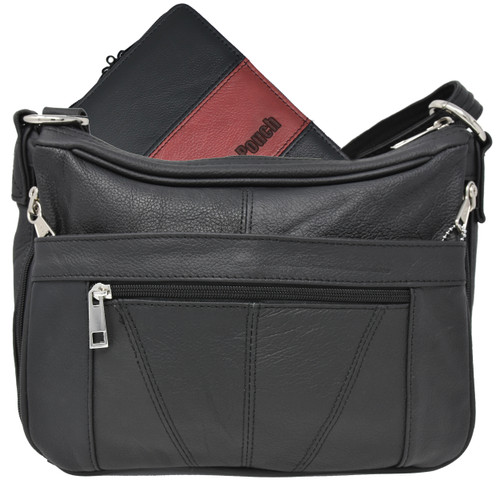 Garrison Grip Quality Leather Concealed Carry Makeup Case for Compact and Subcompact Guns. Glock 26 27 33 39 42 43 Ruger LCR LC9 LCP SCCY (GTSN-MC-BK)
