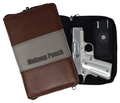 Garrison Grip Quality Leather Concealed Carry Makeup Case for Compact and Subcompact Guns. Glock 26 27 33 39 42 43 Ruger LCR LC9 LCP SCCY (GTSN-MC-BN)