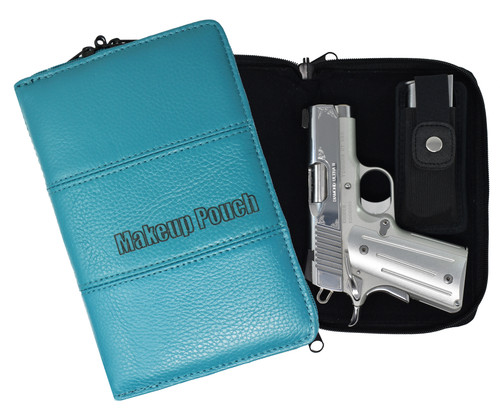 Garrison Grip Quality Leather Concealed Carry Makeup Case for Compact and Subcompact Guns. Glock 26 27 33 39 42 43 Ruger LCR LC9 LCP SCCY (GTSN-MC-TQ)