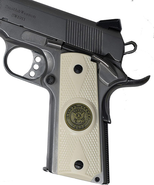 Garrison Grip 1911 Colt A1 Full Size and Clones (Grips Only) with US Navy Pewter Medallion Set in Double Diamond White Ivory Colored ABS