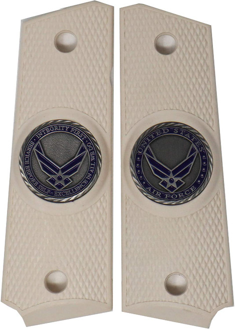 Garrison Grip 1911 Colt Full Size and Clones with US AIR Force Pewter Medallion Set in Light Ivory Color Polymer Grips