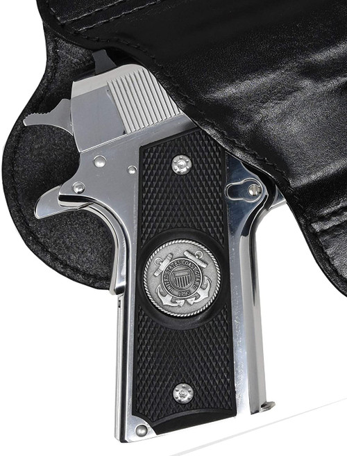 Garrison Grip 1911 Colt Full Size and Clones with US Coast Guard Pewter Medallion Set in High Grade Ebony Colored ABS