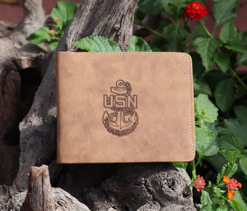 Garrison Grip Custom Engraved Bi-Fold Wallet with Military Logo