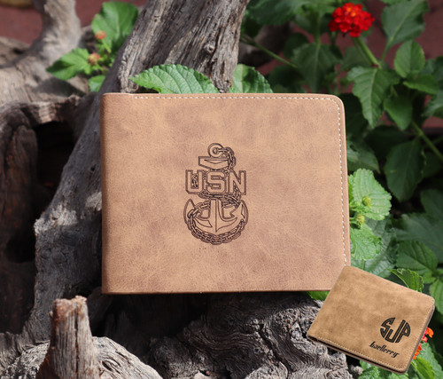 Garrison Grip Custom Engraved Bi-Fold Wallet with Military Logo and Personalized Initials