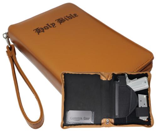 Tan Brazilian Leather Bible Gun Case With Engraved Letters Medium/SM Guns