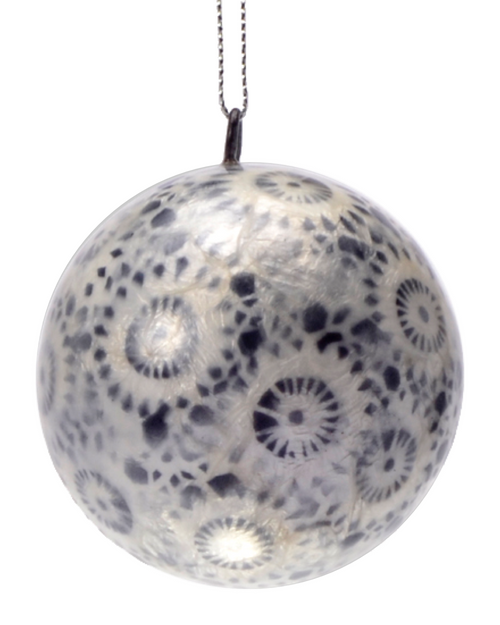 Ebony & Ivory Starburst Hand Made Painted Capiz Christmas Ornament