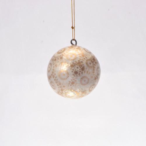 Gold & White Starburst Hand Made Painted Capiz Christmas Ornament