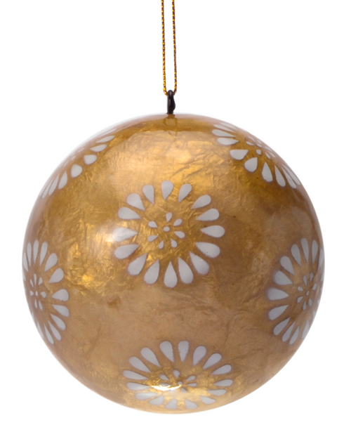 White Dandelion in Gold Hand Made Painted Capiz Christmas Ornament