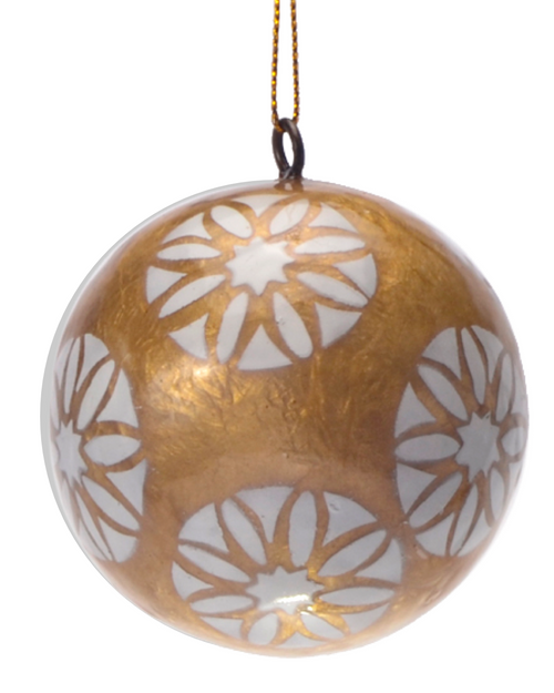 White Daisy in Gold Hand Made Painted Capiz Christmas Ornament