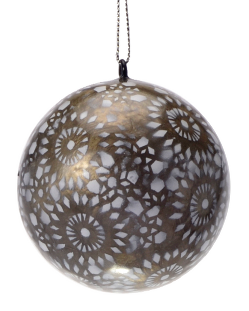Silver Starburst Hand Made Painted Capiz Christmas Ornament