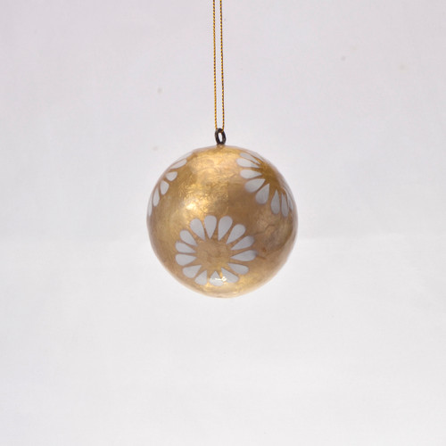Dorothy in Gold Hand Made Painted Capiz Christmas Ornament - Small