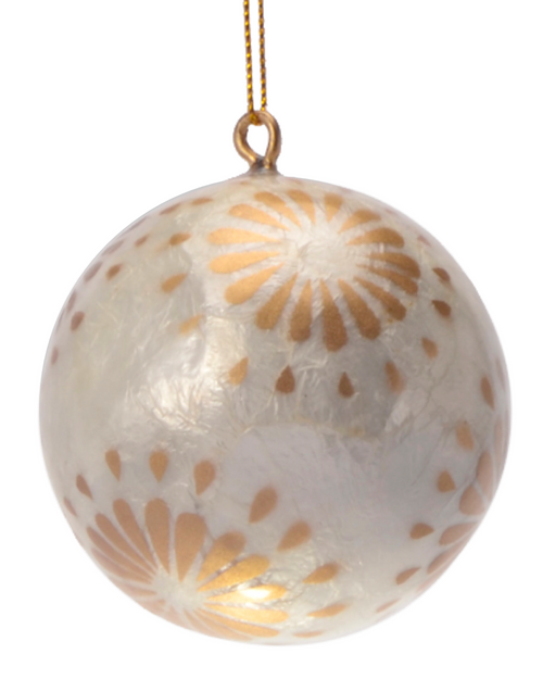 Sparkling Golden Flora Painted Capiz Christmas Ornament