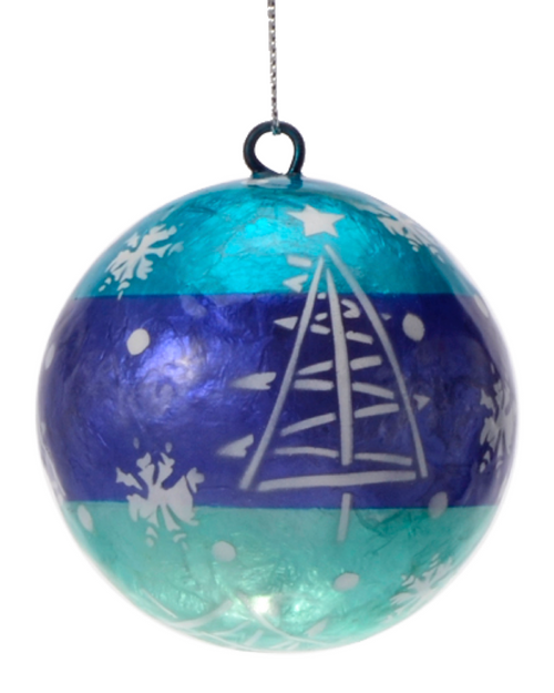 Snowy Twilight Hand Made Painted Capiz Christmas Ornament