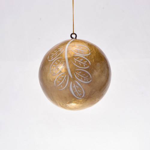 Cyprus Leaf Hand Made Painted Capiz Christmas Ornament - Large
