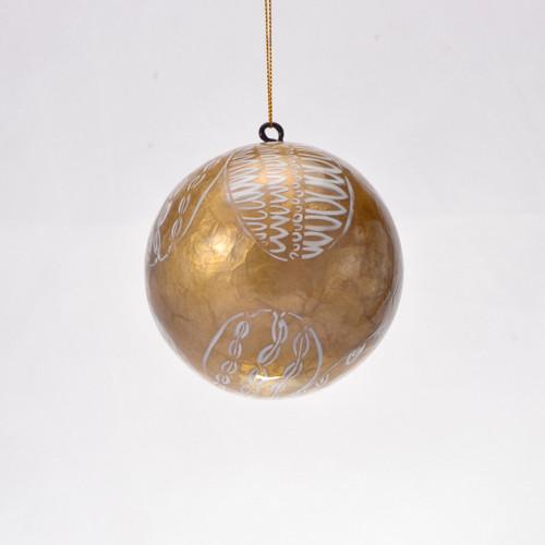 Athena Hand Made Painted Capiz Christmas Ornament - Large