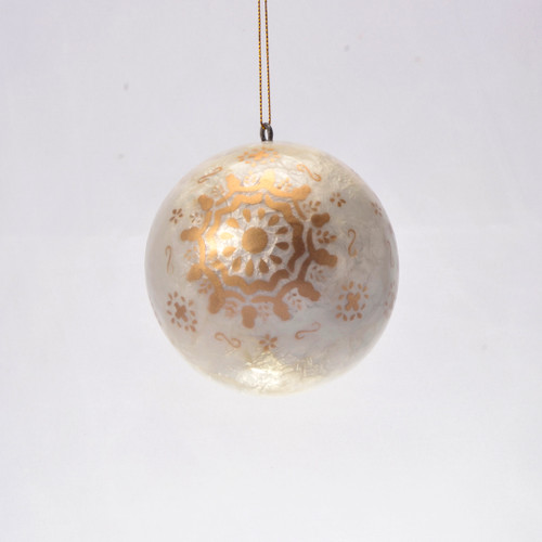 Golden Snowflake Hand Made Painted Capiz Christmas Ornament - Large