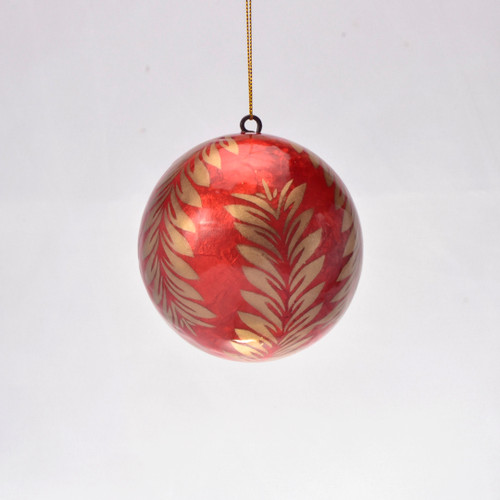 Gold Holly in Red Hand Made Painted Capiz Christmas Ornament - Large