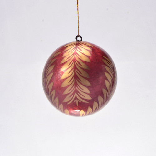 Gold Holly in Auburn Hand Made Painted Capiz Christmas Ornament - Large