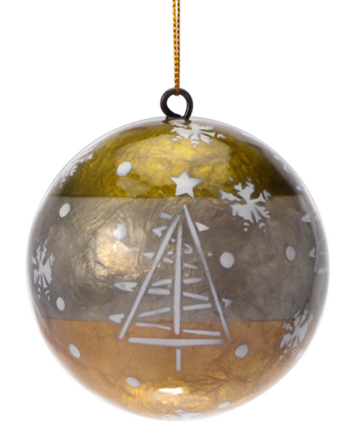 Earth's Solstice Hand Made Painted Capiz Christmas Ornament