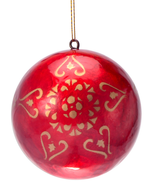 Red The Magnificent Hand Made Painted Capiz Christmas Ornament - Large