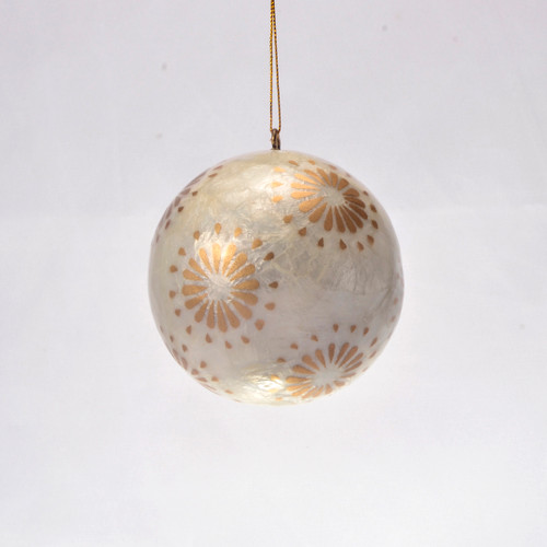 Sparkling Golden Flora Hand Made Painted Capiz Christmas Ornament - Large