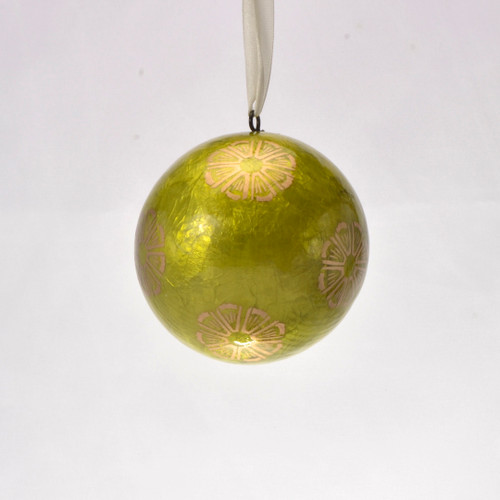 Golden Lime Spritz Hand Made Painted Capiz Christmas Ornament - Large