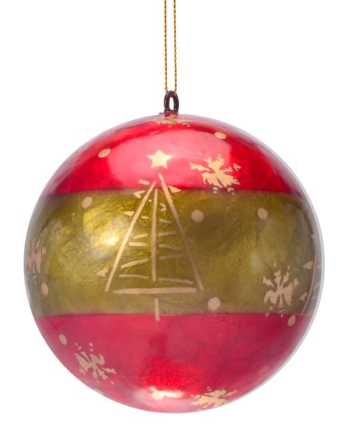 Christmas Day Hand Made Painted Capiz Christmas Ornament