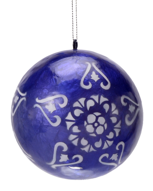 White Lantern in Blue Hand Made Painted Capiz Christmas Ornament