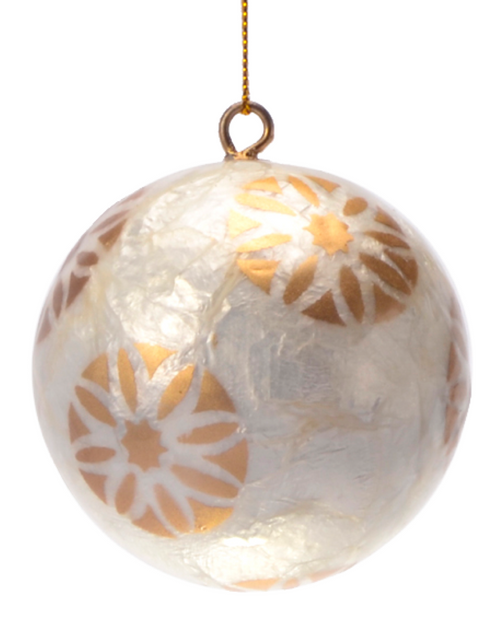 White Daisy in Gold White Hand Made Painted Capiz Christmas Ornament - Large