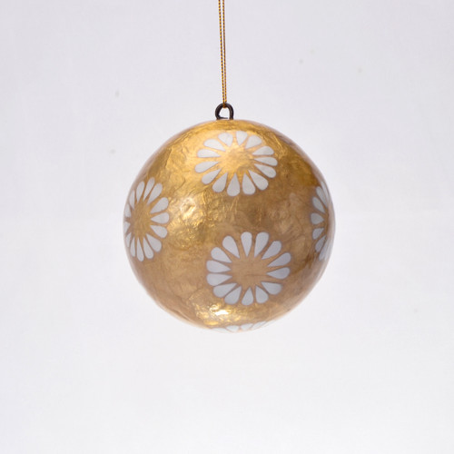 Dorothy in Gold White Hand Made Painted Capiz Christmas Ornament - Large