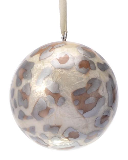 Snowy Safari Hand Made Painted Capiz Christmas Ornament