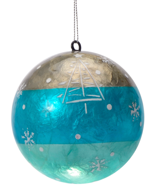 Wishful Christmas Hand Made Painted Capiz Christmas Ornament
