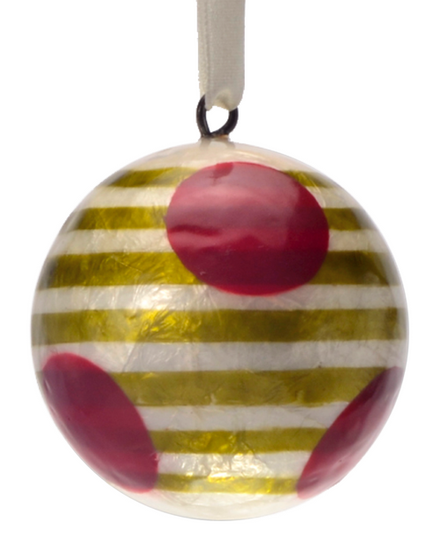 Elvin's Green Stripes Hand Made Painted Capiz Christmas Ornament