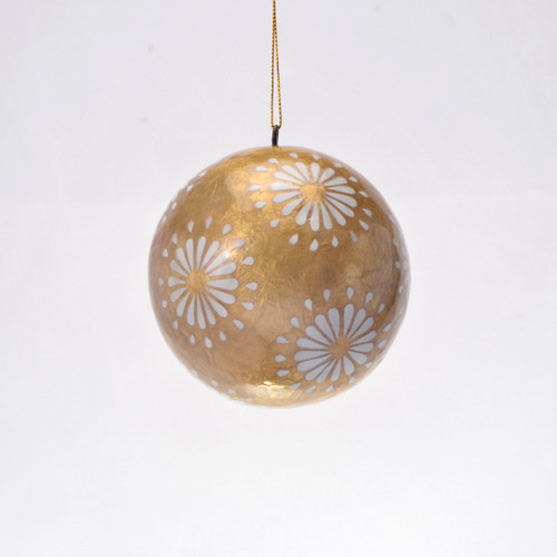 Sparkling Ivory Flora Hand Made Painted Capiz Christmas Ornament - Large
