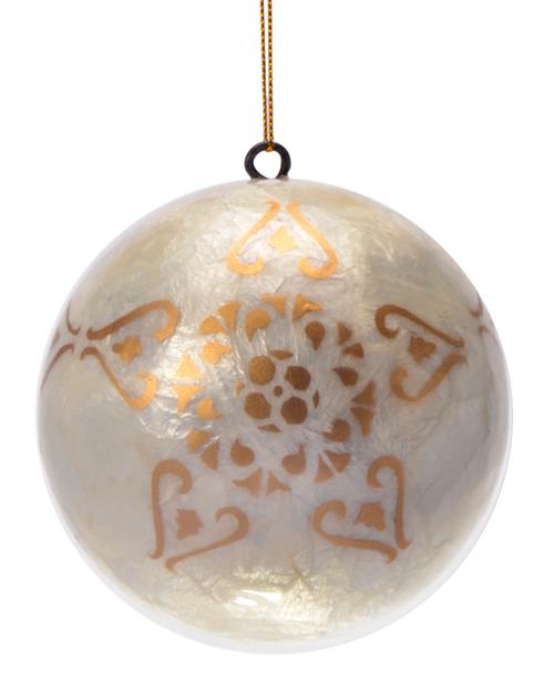Golden Christmas Lantern Hand Made Painted Capiz Christmas Ornament