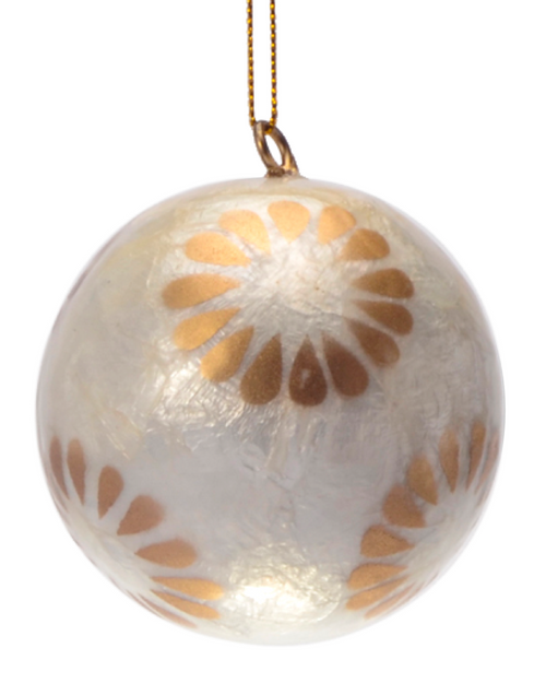 Catherine in Gold Lantern Hand Made Painted Capiz Christmas Ornament