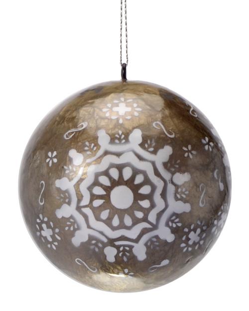 Sophia's Snowflake Lantern Hand Made Painted Capiz Christmas Ornament