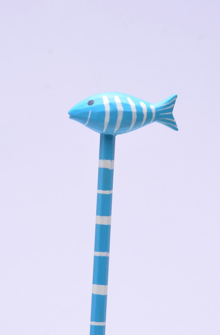 Baby Blue Fish with White Stripes Hand Made Pencil