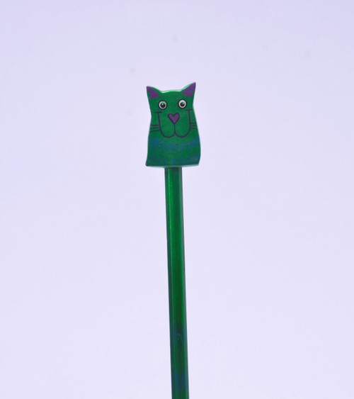 Crazy Green Kitty Hand Made Pencil