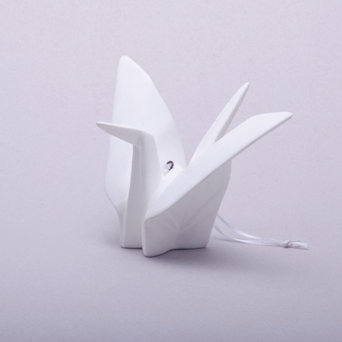 Origami Crane Fine Bone Ornament