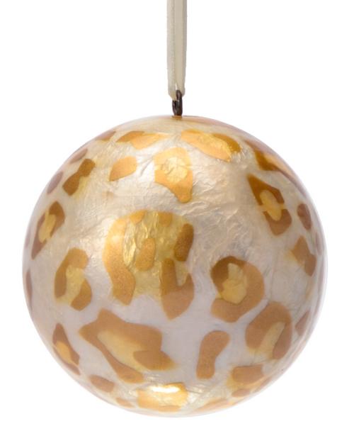 Golden Safari Hand Made Painted Capiz Christmas Ornament