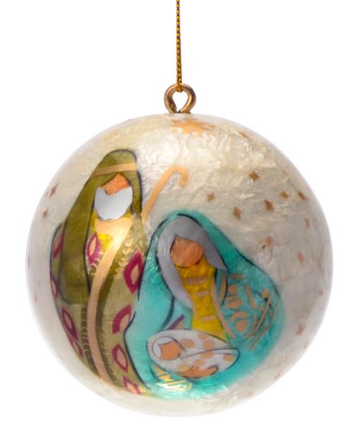 Holy Family Capiz Ornament (White) - Medium